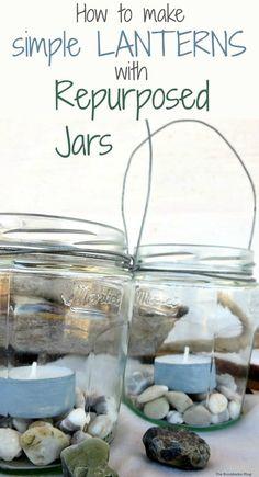 making tealight lanterns with repurposed jars and wire. How to make Simple Lanterns with Repurposed Jars, theboondocksblog.com