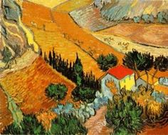 Van Gogh landscape with house free cross stitch pattern