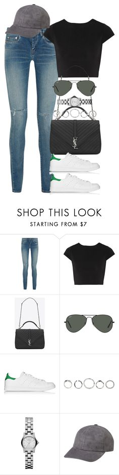 """""""Untitled #3717"""" by lily-tubman ❤ liked on Polyvore featuring Yves Saint Laurent, Alice + Olivia, Ray-Ban, adidas Originals and Marc by Marc Jacobs"""