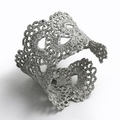 Vintage Scalloped Lace Silver Cuff Bracelet - is this crocheted?