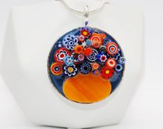 Unique Pendant Colourful Jewellery Flower Necklace Gift for