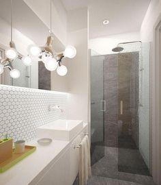Kombination Graue Flieseboden U0026 Wand + Teilweise Highlight Mit Mosaikfliesen