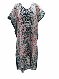 Women'S Cotton Kaftan Floral Printed Resort Wear Caftan Beach Wear Kaftan