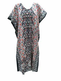 Women'S Cotton Kaftan Floral Printed Resort Wear Caftan Beach Wear Kaftan