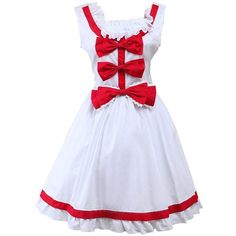 Partiss Women's Red Bow Ruffles Sweet Cute Cosplay Lolita Dress ($55) ❤ liked on Polyvore featuring dresses, flounce dress, ruffle cocktail dress, frilly dresses, bow dress and red flounce dress
