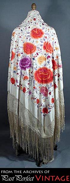 1910s - 20s Canton Shawl with Embroidery