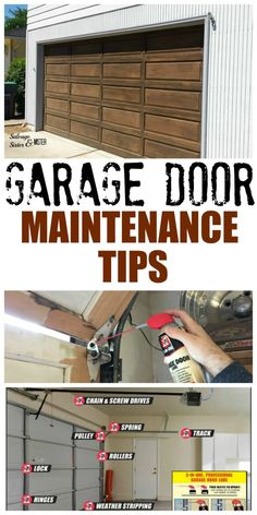 Garage Door Maintenance tips. Salvage your current door with proper care and maintenance A little bit of time, and your garage door can last for years to come. Here are some garage door maintenance tips to do just that. Garage House, Garage Shed, Garage Doors, Garage Workbench, Garage Door Repair, Garage Cabinets, Dream Garage, Garage Party, Garage Bike