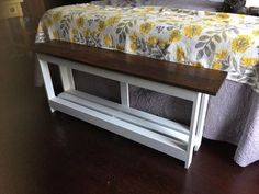 I had a large blanket chest at the end of our king-sized bed and wanted to change the look to a much smaller bench. I found a bench as my inspiration on Pintere… Furniture, Bed Bench, End Of Bed Bench, Simple Bed, Home Decor, Old Bed Frames, Bed, Bench, Diy Sofa