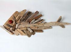 SOCRATE, pesce assemblato con legno spiaggiato H cm 41 - Lung. cm 110