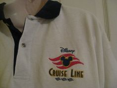 Walt Disney Cruise Line Men size XL Polo Shirt White Extra Large Vacation at Sea #Disney #PoloRugby