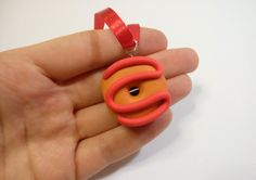 Christmas ornament iced donut orange red decoration by youfimo