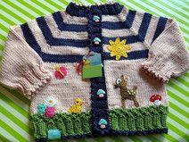 "Bilderbuchjacke "" Blumenwiese""! BioBaumwolle Baby Knitting Patterns, Baby Cardigan Knitting Pattern, Hand Knitting, Crochet Patterns, Crochet Crafts, Crochet Projects, Baby Girl Sweaters, Knit Baby Booties, Crochet Slippers"