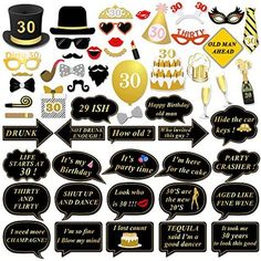 30th Birthday Party Photo Booth Props (56Pcs) for Her Him Dirty Thirty 30th Birthday Gold and Black Decorations, Konsait Big 30 Birthday Party Supplies for Men and Women - http://partysuppliesanddecorations.com/30th-birthday-party-photo-booth-props-56pcs-for-her-him-dirty-thirty-30th-birthday-gold-and-black-decorations-konsait-big-30-birthday-party-supplies-for-men-and-women.html
