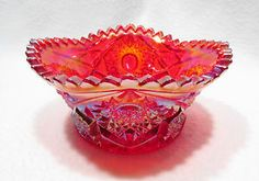 Vintage Red Carnival Cut Glass Candy Bowl
