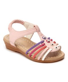 Love this Pink Rainbow-Strap Studded Sandal by Ositos Shoes on #zulily! #zulilyfinds
