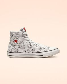 Tom and Jerry Chuck Taylor All Star High Top White/Multi/Red Converse Shoes High Top, Converse Shop, All Star Shoes, Converse All Star, Converse Chuck Taylor, High Top Sneakers, Converse Style, Cute Shoes, Me Too Shoes