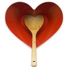 Heart-shaped bowl and bamboo heart-shaped spoon
