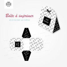 Boite cadeau fantaisie motif triangles noir et blanc à imprimer