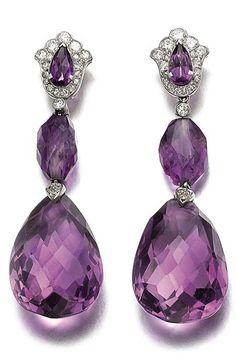 Art Deco Amethyst, Diamond & Platinum Ear Pendants by Cartier 1920 Purple Jewelry, Amethyst Jewelry, Amethyst Earrings, Bling Jewelry, Pandora Jewelry, Platinum Earrings, Sapphire Pendant, Amethyst Stone, Diamond Pendant
