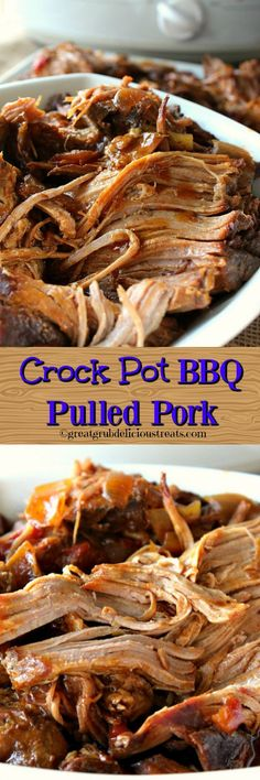 Crock Pot BBQ Pulled Pork - This crock pot BBQ pulled pork is super tender, tastes delicious and just melts in your mouth. Pork Casserole Recipes, Pork Recipes, Crockpot Recipes, Meatloaf Recipes, Crockpot Dishes, Crock Pot Cooking, Pork Dishes, Slow Cooked Meals, Entree Recipes