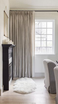 Pleated Drapes from Barn & Willow in Natural Belgian Linen with privacy lining. Made from Belgian Flax Linen, these floor-length drapes provide a textured and elegant touch to your living room. Linen Roman Shades, Curtains With Blinds, Linen Curtains, Drapery, Living Room Drapes, Custom Drapes, Window Coverings, Window Treatments, Curtain Designs