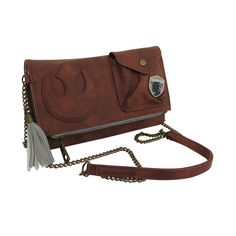 This Star Wars purse is rendered in a leather-like material adorned with stitched Rebel symbol and metal SCAVENGER badge - it also features quite a few pockets. Rey Star Wars, Star Wars Rebels, Crossbody Clutch, Clutch Purse, Star Wars Merchandise, Brass Color, Pouch, Handbags, Purses