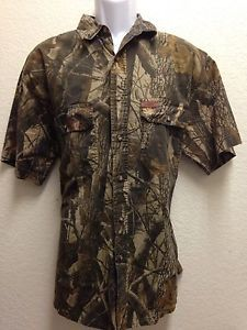 Woolrich Realtree Men's Camo Hunting Fishing Button Front Short Sleeve Shirt L | eBay