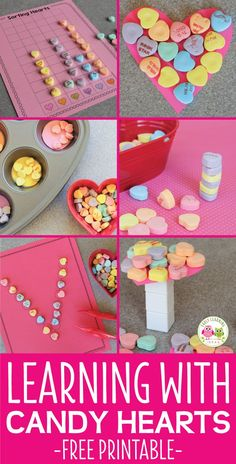 Conversation hearts can be used for fun learning activities. Here are many ideas for Valentine's Day activities for preschool. Includes a free printable graphing page. Use the Valentine's Day candy hearts for math, numeracy, literacy, color, and patternin Valentines Games, Valentine Theme, Valentines Day Activities, Valentines Day Party, Valentine Crafts, Printable Valentine, Valentines Day Craft Preschool, Printable Party, Preschool Learning Activities