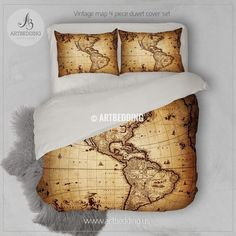 Vintage world map bedding antique map of the world 1752 duvet cover vintage world map bedding antique map of the world 1752 duvet cover set steampunk old map comforter set vintage maps antique maps and duvet gumiabroncs Image collections