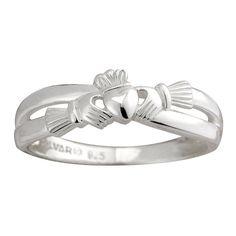 Damen Claddagh-Ring, geschwungen Sterling Silber