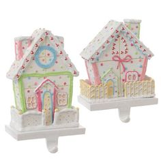 $39.99-$62.00 Pink & Blue Christmas Candy Gingerbread House Stocking Holder Set 2 - Sweet pastel color candy houses make these Christmas stocking holders not only unique but a delightful addition to your Holiday display. http://www.amazon.com/dp/B004ARYKRI/?tag=pin2wine-20