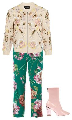 """""""Floral Bomber Jacket"""" by starlings-closet ❤ liked on Polyvore featuring Gucci, Needle & Thread, women's clothing, women, female, woman, misses and juniors"""