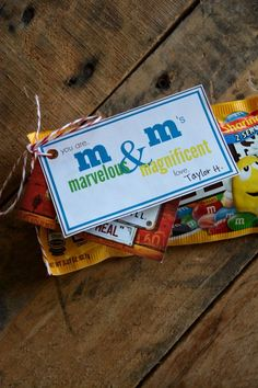 M&M Printable Gift Tag | Perfect for a small thank you gift. The Idea Room