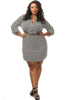 This beautiful plus size dress features a geo print body, adjustable sleeves and a belt tie. Soft, stretch material Tight fit 95% Polyester 5% Spandex Model wearing 3X Imported