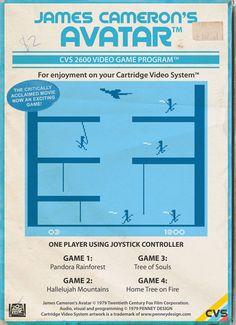 Une série de parodie des films et séries actuels en version retro-gaming façon pochettes de jeux Atari 2600 8bit inside : Avatar, Cloverfield, Prison Break,etc