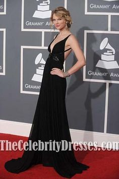 Taylor Swift Red Carpet Dress Black Prom/ Evening Gown 51st Grammy Awards TCD0213