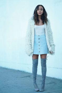 Cardigan: skirt boots fall outfits fall sweater top blogger ashley madekwe denim skirt over the knee