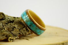 Walnut/Maple Bentwood ring with blue turquoise inlay on Etsy, $160.00