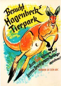 Visit Hagenbeck Zoo, 1950s - original vintage poster listed on AntikBar.co.uk