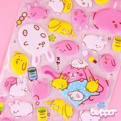 Lazy Rabbit Puffy Stickers