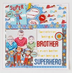 CUTE Superhero layout with Party with Amy Locurto - #Scrapbook & #Party Designs