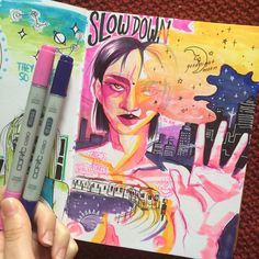 """Slow down"" Art journal 6/3/15"