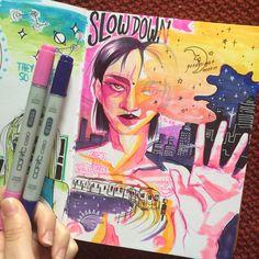 """Slow down"" Art journal 6/3/15"