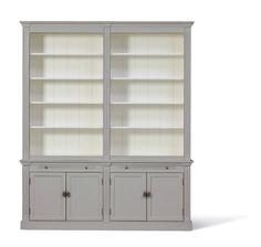 Landelijke Boekenkast White Wash afmeting H 241 cm x B 200 cm x D 43 cm - Inndoors Meubelen en Interieur