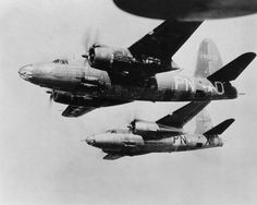 """B-26 Marauder bomber """"Flak Bait"""" in flight 1945 - the first US bomber in Europe to record 200 bombing missions."""