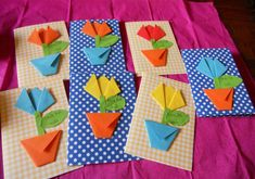 Kids Crafts, Spring Crafts For Kids, Mothers Day Crafts For Kids, Mothers Day Cards, Diy For Kids, Flower Cards, Paper Flowers, Diy Paper, Paper Crafts