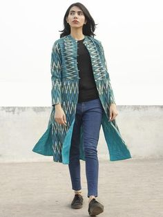 Teal Green Blue Ivory Hand Woven Ikat Long Jacket With Stand Collar - Formal Jackets For Women, Long Jackets, Blazers For Women, Stylish Tops For Women, Stylish Dresses For Girls, Simple Kurta Designs, Tye And Dye, Kurti Embroidery Design, Stitching Dresses