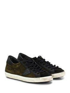 PHILIPPE MODEL PARIS - Sneakers - Uomo - Sneaker in camoscio e pelle effetto delavè con logo su lato esterno e suola in gomma effetto vintage. Tacco 25. - GREEN\BLACK - € 242.00