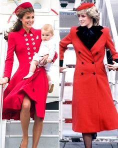 On April 7, 2014 Catherine, Duchess of Cambridge descends the aircraft in New Zealand carrying Prince George. Thirty years prior in March 1984, Diana, Princess of Wales arrives in Leicester, England. Both were wearing a red coat designed by Catherine Walker.