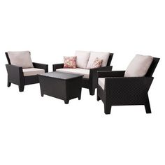 Charlottetown brown all weather wicker patio loveseat with for Belmont brown wicker patio chaise lounge
